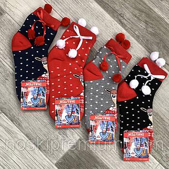 Новогодние носки женские махровые хлопок Новый год Inaltun, Турция, ассорти, 02491