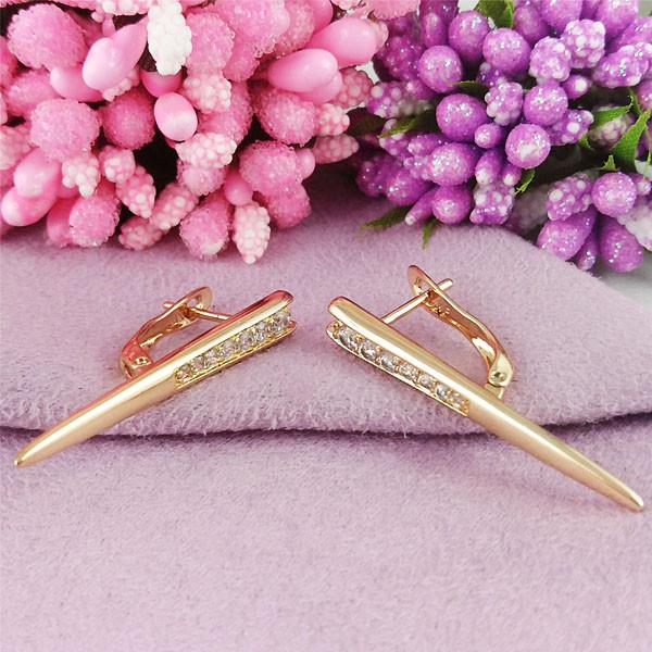 Серьги Xuping Jewelry Амира медицинское золото позолота 18К английский замок А/В 1-0406