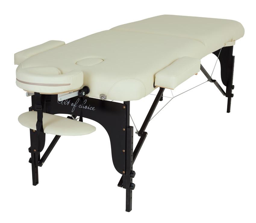 Складной переносной Массажный стол BAS двухсекционный регулировкой высоты деревянный каркас