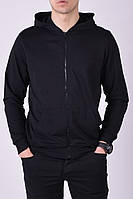 Размеры: 46-54. Мужская кофта с капюшоном - худи / Трикотаж двунитка, Узбекистан - черная