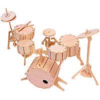Игрушка из дерева Мир деревянных игрушек 3D пазл Деревяная Ударна Установка И007, КОД: 2443642
