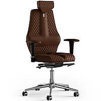Кресло KULIK SYSTEM NANO Экокожа с подголовником со строчкой Коричневый 16-901-WS-MC-0214, КОД: 1668814