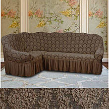 Натяжные чехлы накидка еврочехол на угловой диван  жаккардовый с оборкой Кофейный Разные цвета