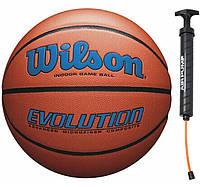 Мяч баскетбольный Wilson EVOLUTION размер 7 композитная кожа коричневый (WTB0595XB0704)