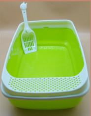 Туалет з бортиком для кішок пластик біло-зелений 50х35х20 см DL-630