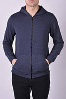 Размеры: 46-54. Мужская кофта с капюшоном - худи / Трикотаж двунитка, Узбекистан - темно-серая