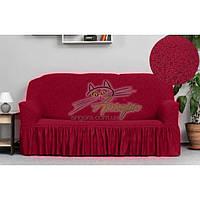 Новинка! Жакардовий чохол на диван трьохмісний з оборкою, спідницею, рюшами Venera бордо