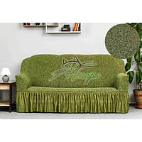 Новинка! Жакардовий чохол на диван трьохмісний з оборкою, спідницею, рюшами Venera зелений