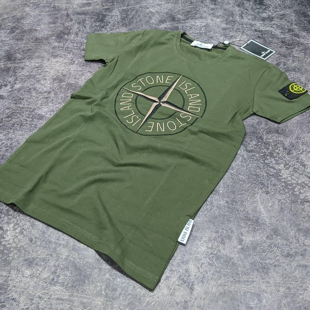 Мужская футболка Stone Island CK1690 зеленая