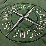Мужская футболка Stone Island CK1690 зеленая, фото 3