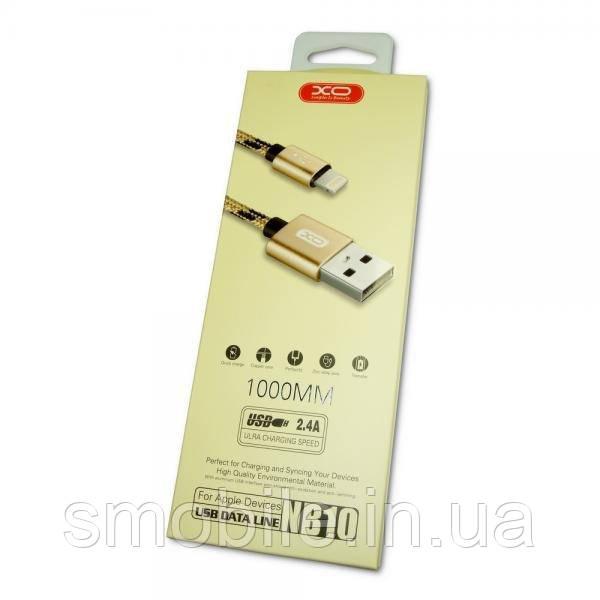 XO Lightning кабель зарядки и синхронизации XO NB10 для iPhone iPad iPod в золотистой нейлоновой оплетке (1000