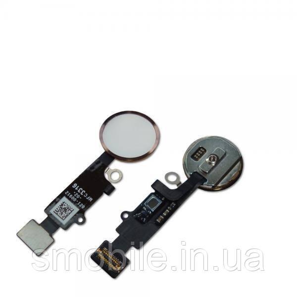 Apple Кнопка HOME внешняя + шлейф для iPhone 8 / 8 Plus белого цвета, кольцо - розовое золото (оригинальные