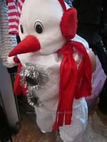 Новогодний костюм снеговик с наушниками и варежками, размеры от 98 см до 146 см