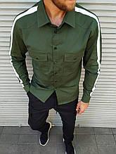Мужская рубашка с лампасом цвета хаки M