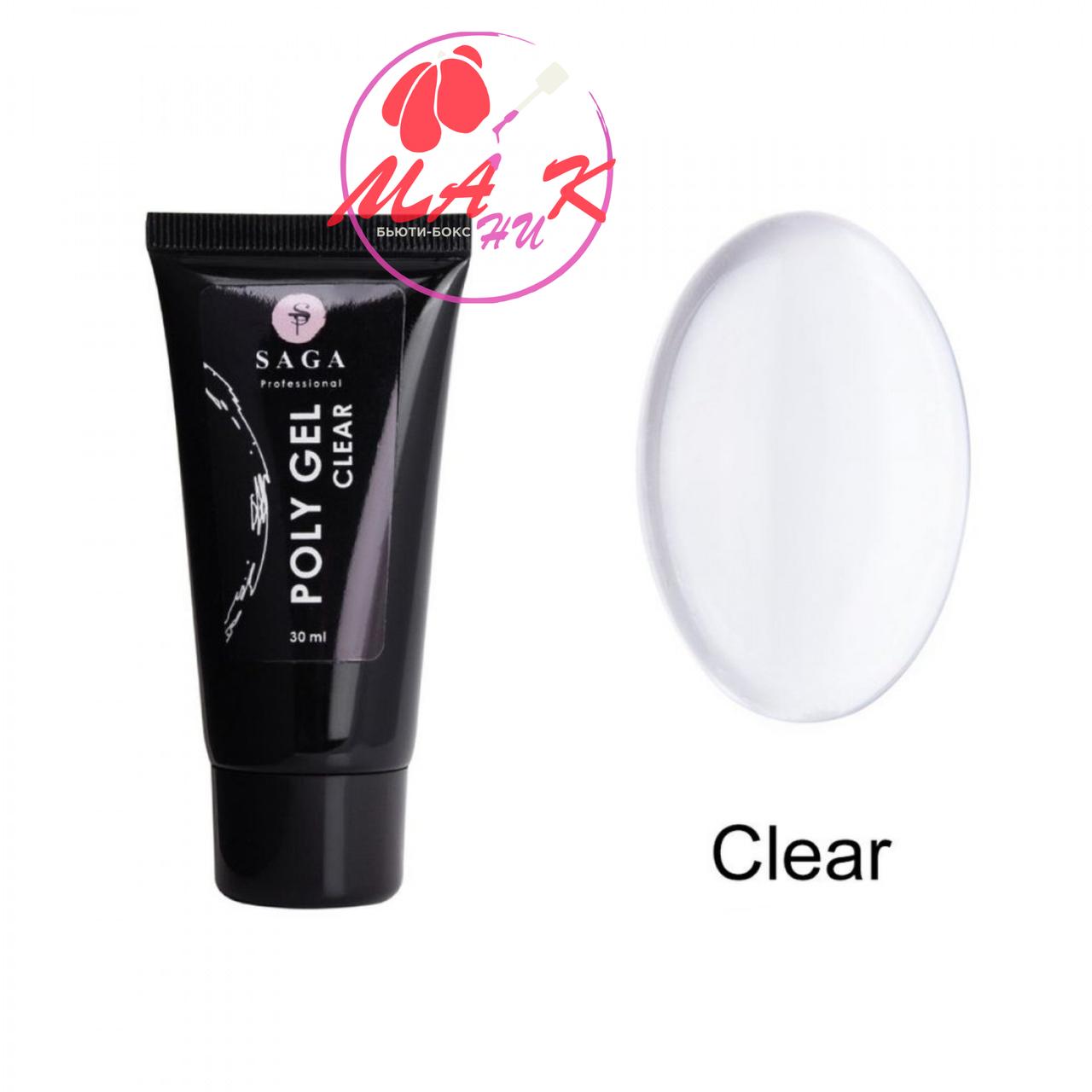 Полигель Saga Professional Poly Gel Clear, 30 мл прозрачный