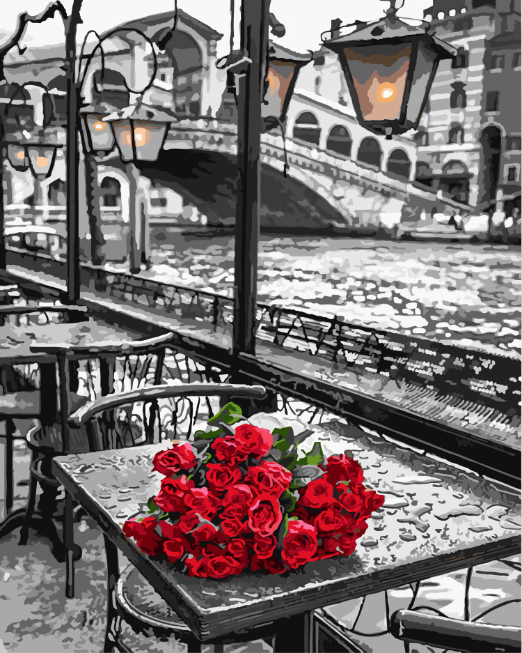 """Картина по номерам. Brushme """"Розы под дождем"""" GX9754"""