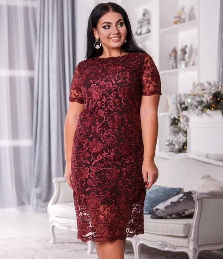 Нарядное платье кружева в больших размерах в расцветках (DG-с41389)