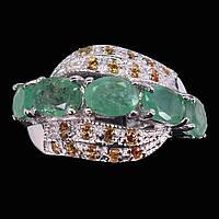 Крупное серебряное Кольцо с натуральными Изумрудами и желтыми Сапфирами, фото 1