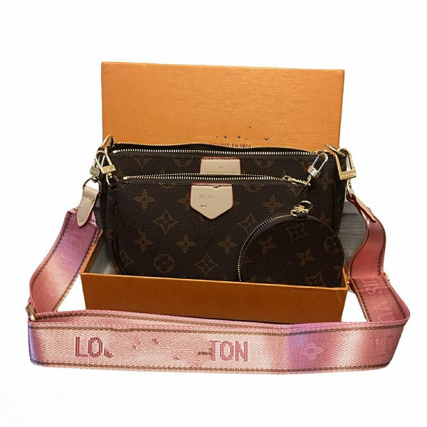 Сумка Луи Виттон с розовым ремешком 3 в 1 в коробке с документами 1:1 зеркало