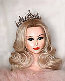 Корона повного кола з перлинами кольору капучіно, кристалами чорного, коричневого та австрійський опал, фото 2