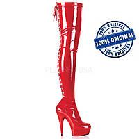 Красные ботфорты со шнуровкой сзади, pole dance обувь
