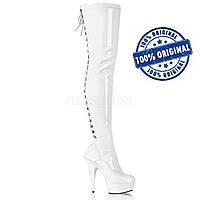 Белые ботфорты со шнуровкой сзади, pole dance обувь