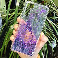 Чехол Glitter для OPPO A91 бампер жидкий блеск Фиолетовый
