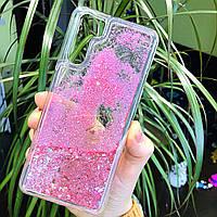 Чехол Glitter для OPPO A91 бампер жидкий блеск Сердце Розовый