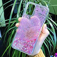 Чехол Glitter для OPPO A72 бампер жидкий блеск Сердце Розовый