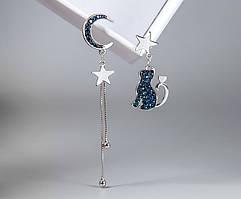 Срібні Сережки City-A з Місяцем Зіркою і Котом №3035