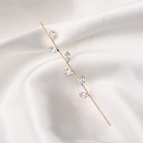 Серьги Каффы в форме крючка с кристаллом Пусеты Гвоздики City-A Цвет Серебро Позолоченные №3037, фото 2