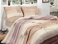 Комплект постельный подарочный евро сатин Маки беж