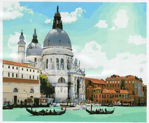 Картина рисование по номерам Венеция RA3735 Вектор 40х50см в коробці, расскраска по номерам города набор для