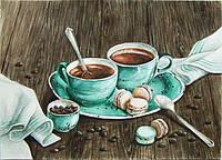 Алмазная мозаика вышивка Утренний кофе 50x35см DM-165 Полная зашивка. Набор алмазной вышивки