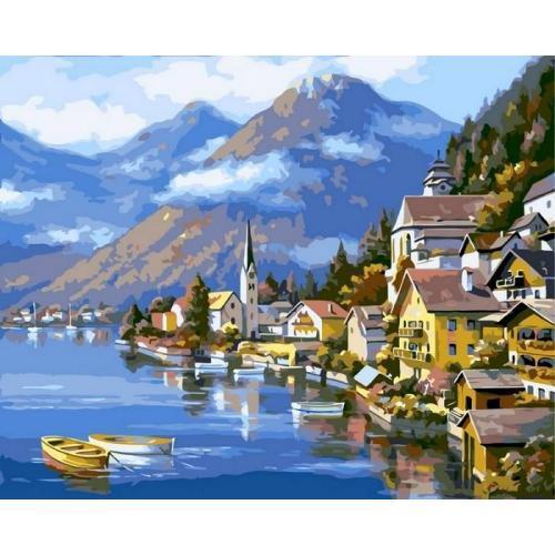 Картина рисование по номерам Babylon Альпийская деревня 40х50см VP218 набор для росписи, краски, кисти, холст