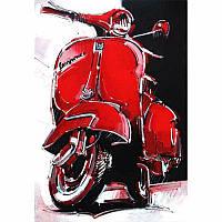 Алмазная мозаика Diy Мотоцикл Vespa 30х40см L45517 транспорт, байки, круглые стразы, 30 цветов, полная зашивка