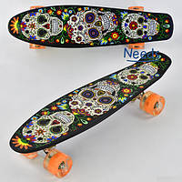Скейт Пенни борд детский Best Board с черепами Черный с оранжевыми колесами светятся