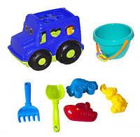 """Сортер-автобус """"Бусик"""" №3 (синий), Colorplast, песочные наборы,наборы в песочницу,игрушки в песочницу,игрушки"""