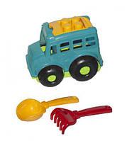 """Автобус """"Бусик №1"""" + лопатка и грабельки (бирюзовый), Colorplast, песочные наборы,наборы в песочницу,игрушки в"""