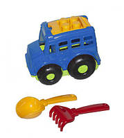 """Автобус """"Бусик №1"""" + лопатка и грабельки (синий), Colorplast, песочные наборы,наборы в песочницу,игрушки в"""