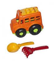 """Автобус """"Бусик №1"""" + лопатка и грабельки (оранжевый), Colorplast, песочные наборы,наборы в песочницу,игрушки в"""