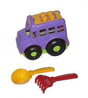 """Автобус """"Бусик №1"""" + лопатка и грабельки (фиолетовый), Colorplast, песочные наборы,наборы в песочницу,игрушки"""