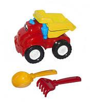 """Машина """"Смайл самосвал"""" №1 (красная) + грабельки и лопатка, Colorplast, песочные наборы,наборы в"""
