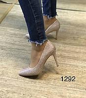 Туфлі жіночі золоті блискучі, фото 1
