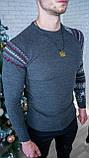 Мужской джемпер темно-серый с рисунком / Турция, фото 4