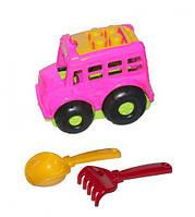 """Автобус """"Бусик №1"""" + лопатка и грабельки (розовый), Colorplast, песочные наборы,наборы в песочницу,игрушки в"""