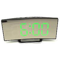Электронные LED часы настольные с зеленной подсветкой и термометром зеркальный изогнутый дисплей UKC DT-6507