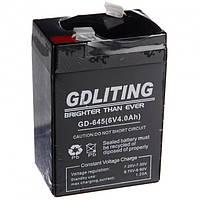Аккумулятор для торговых весов систем бесперебойного питания фонарей и бытовых приборов 6V 4.0AH GDLITE GD-640