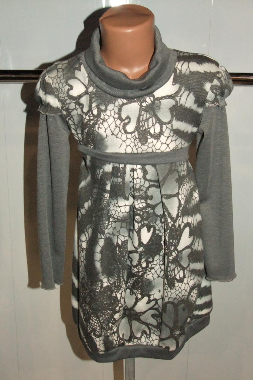 Платье на девочку серое 122,128,146 р трикотажное Турция арт 5499.