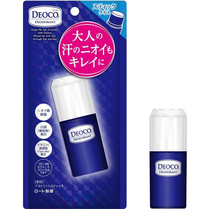 ROHTO DEOCO натуральный дезодорант-стик с каолином, лактоном , дезинфицирующим компонентом , 13 г